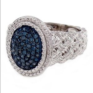 Savvy Cie Blue Diamond Accent Braid Texture Ring